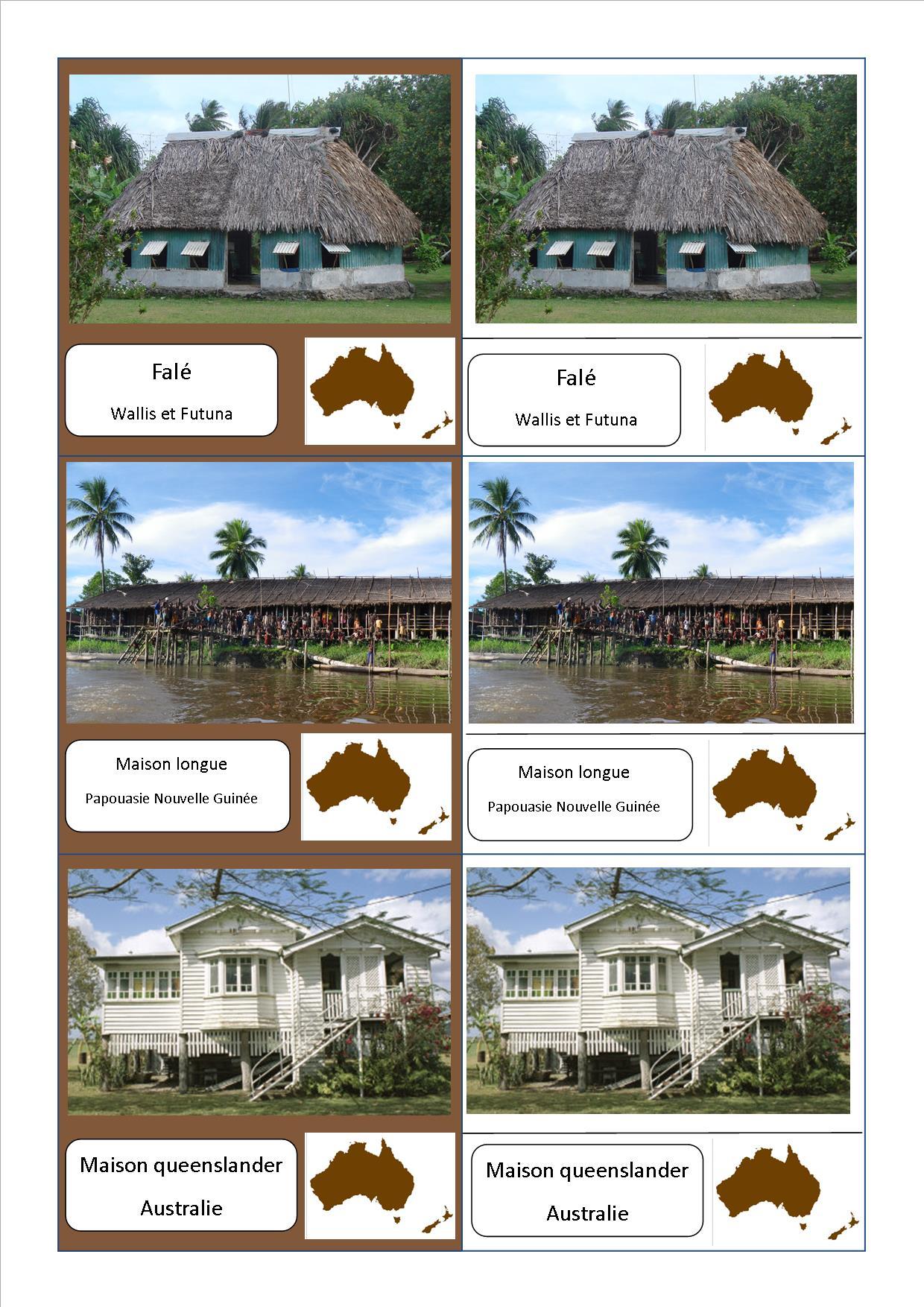 Voici mes cartes de nomenclature montessori sur les for Les habitations dans le monde