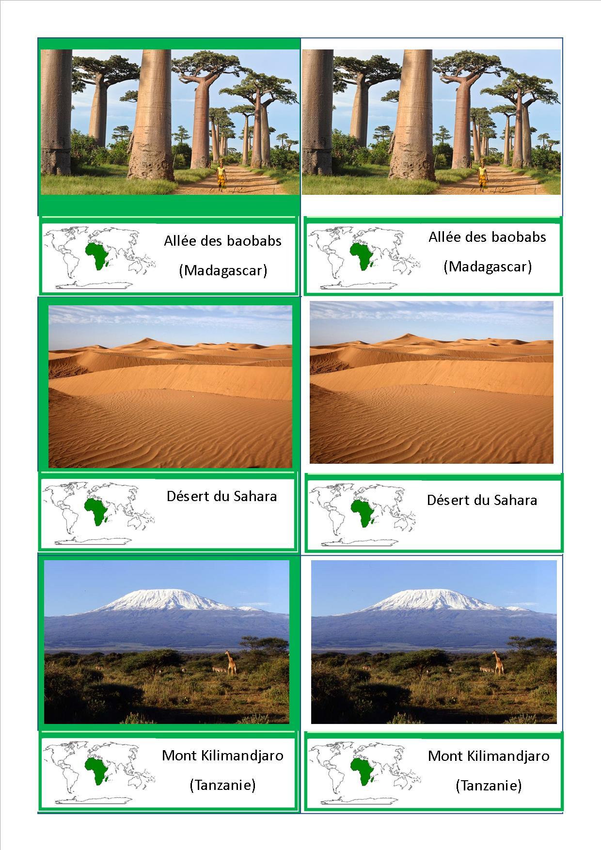 Cartes de nomenclature montessori des paysages du monde for Les habitations du monde