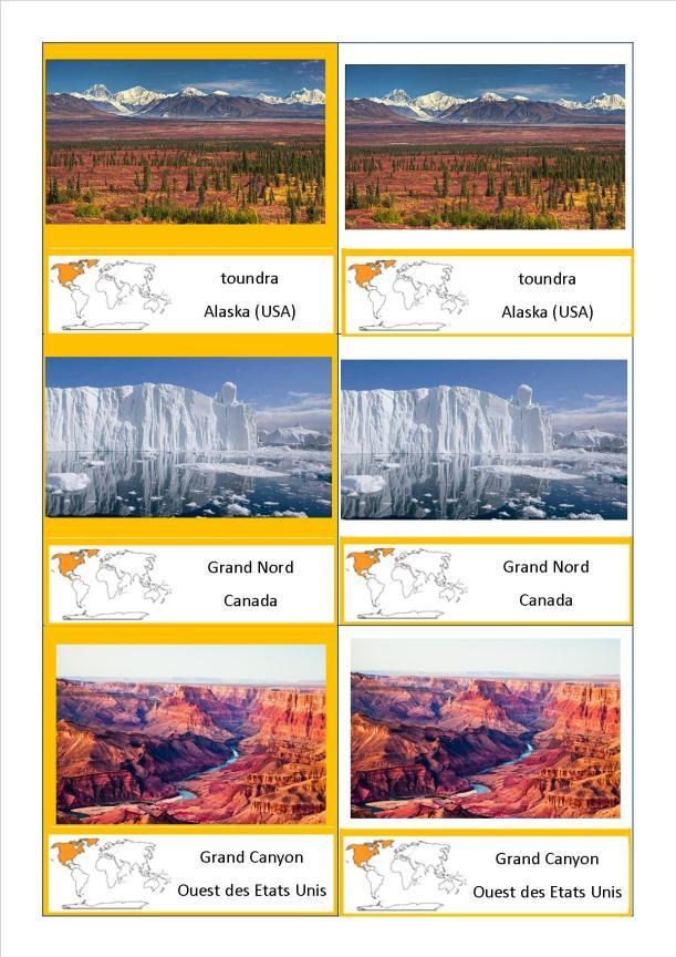 cartes nomenclature paysages Amérique du Nord