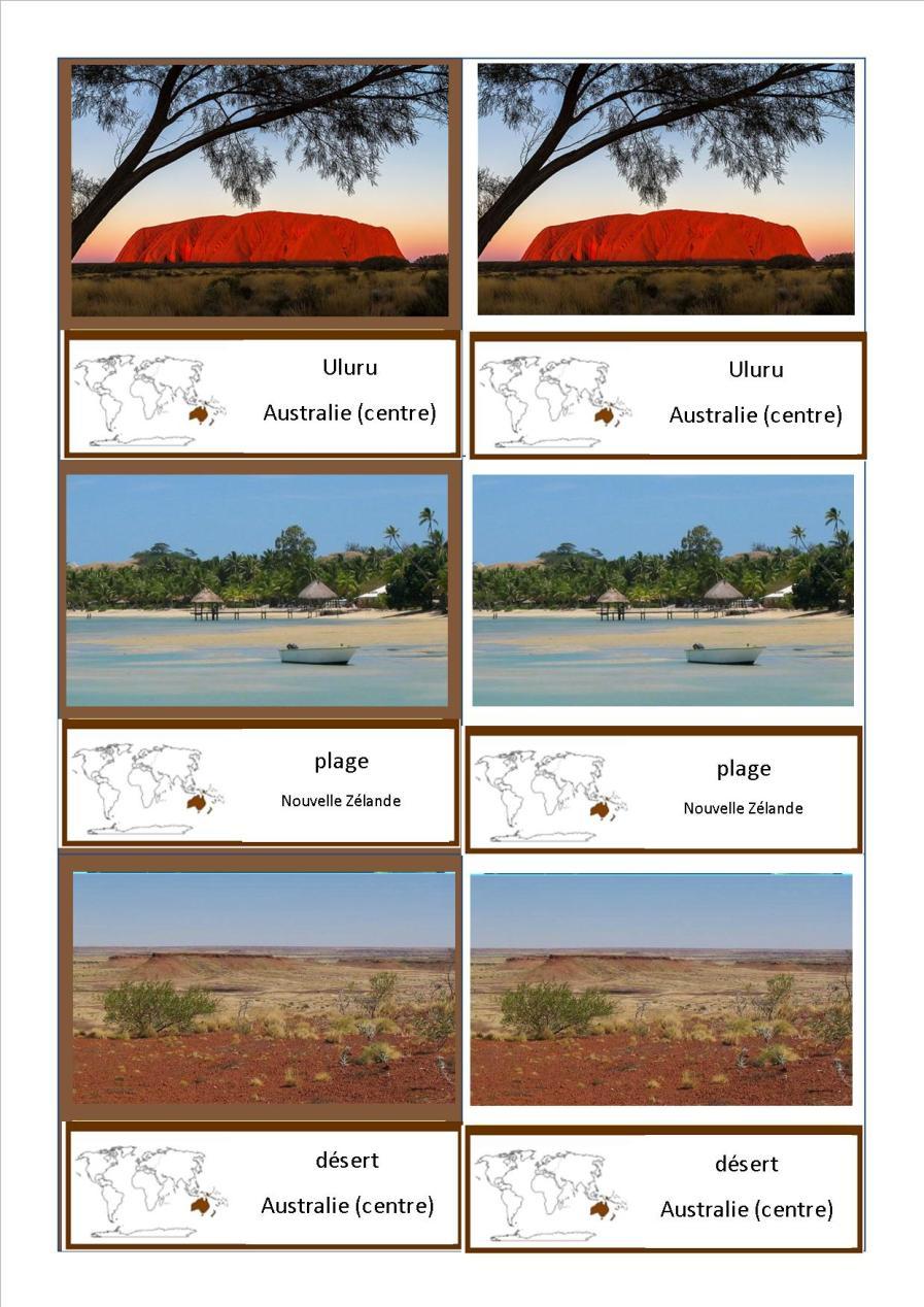 cartes nomenclature paysages Océanie